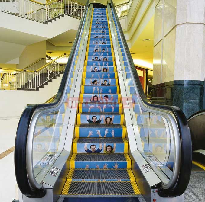 Vinyl Floor Graphic Applied to Mall Elevator